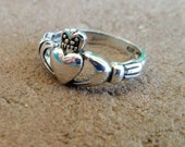 Genuine 925 Sterling Silver Intricate Antique Design Celtic Claddagh Ring, perfect for Irish promise ring, daily wear