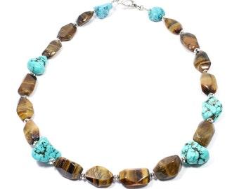 Tiger Eye Turquoise Necklace - Chunky Gemstone Necklace - Big Stone Necklace - Chunky Beaded Necklace - Tiger Eye Necklace - Brown Turquoise