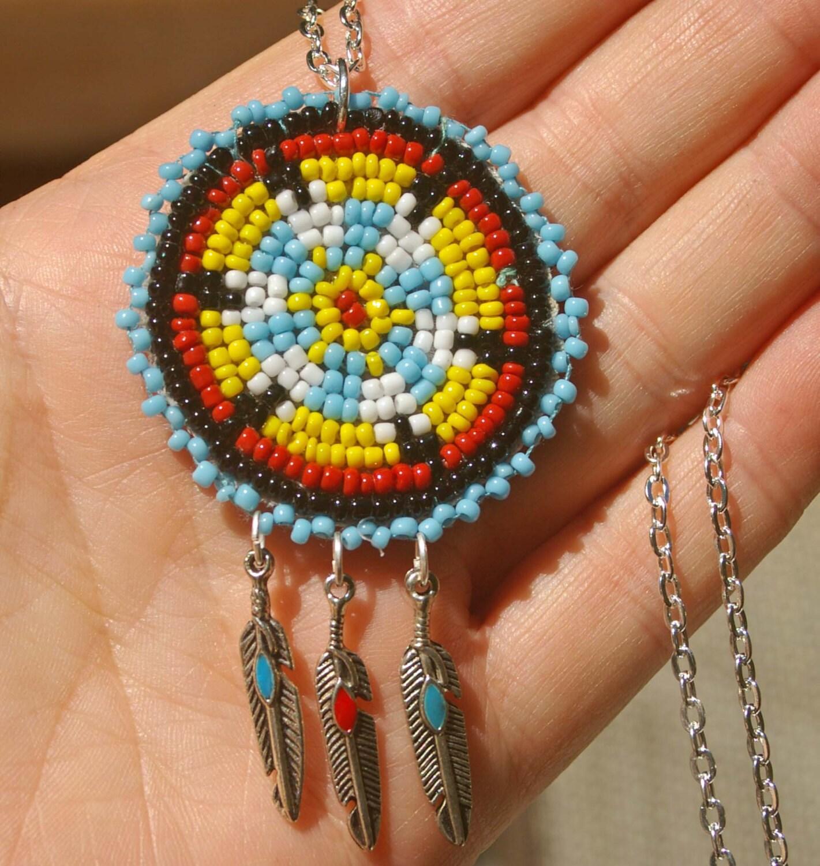 mandala necklace beaded american mandala necklace