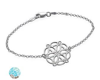 Cirle of Life Mandala Sterling Silver Bracelet