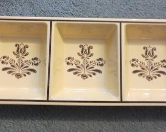 NEW OLD STOCK Vintage 80s Melamine Pfaltzgraff Village Pattern 3 Section Condiment Tray- Housewarming, Bridal Shower, Wedding Gift Suggetion