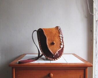 Vintage suede leather tribal ethnic indian gypsy hipster bohemia handbag satchel purse shoulder cross body bag