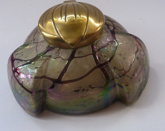 Beautiful Art Nouveau / Jugendstil Kralik Glass Inkwell with Green & Purple Trails Bands, and Brass Hinged Lid