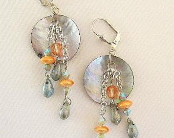 Shell Earrings Glass Beads Denim Blue
