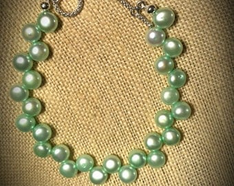 Mint Green Freshwater Pearl Buttons on 7 1/2 Inch Beaded Bracelet Freshwater Pearl Bracelet Mint Green