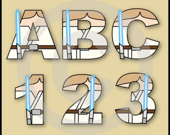 Luke Skywalker (Star Wars) Alphabet Letters & Numbers Clip Art Graphics