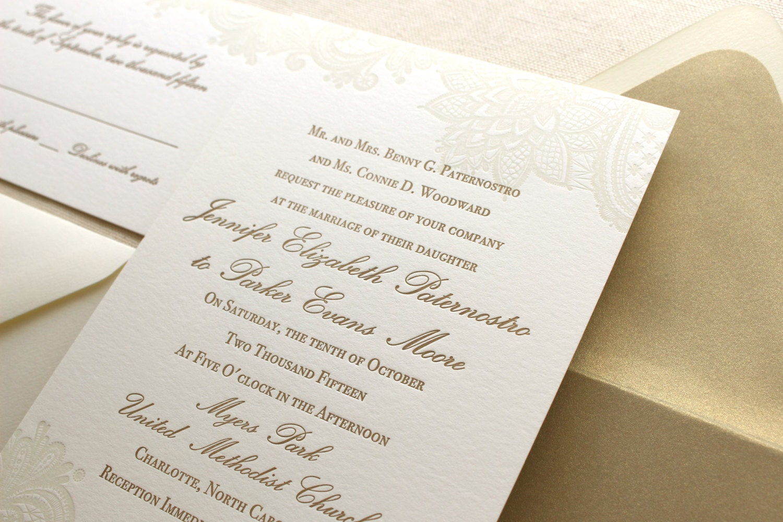 Fancy Wedding Invitations: The Vintage Floral Lace Suite Formal Letterpress Wedding