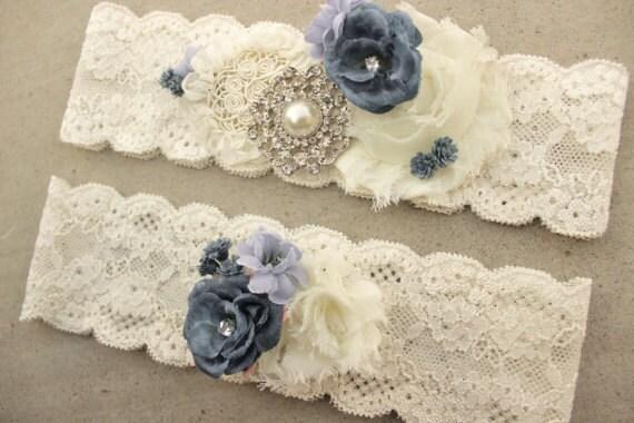 Something Blue Garter Dusty Blue Wedding Garter Set