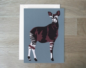 SALE - Okapi - Greeting Card - Endangered Species - Papercut - Animal Card