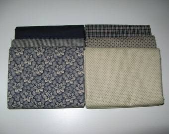 6 Half Yard Cuts in Navy and Beige Cream Cotton Quilting Fabric