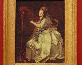 Dollhouse Framed Fine Art Portrait; Harpist in Gold