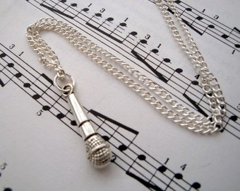 Silver microphone necklace, mic charm, singer, music theme on silver plated chain