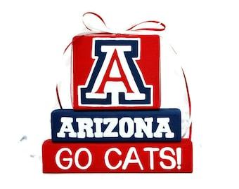 University of Arizona Logo WoodenBlock Sport Shelf Sitter Stack