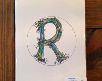 Blue & Green tones letter 'R' design-Personalized Letters-gift-wedding-baby-nursery-alphabet-illustration- Hand Drawn Whimsical Letters
