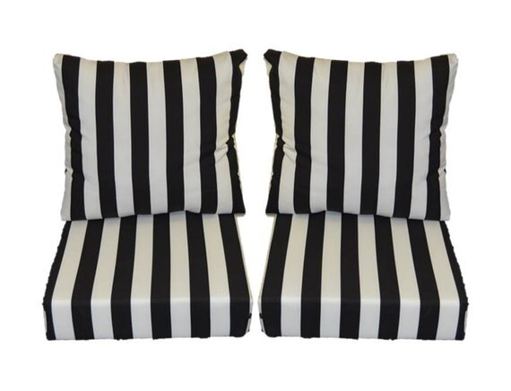 Extra Deep Seat Sofa Black and White Stripe Cushions for Patio Outdoor Deep Seating