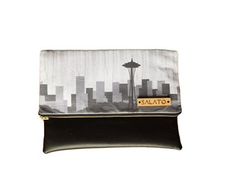 Seattle skyline clutch, Fold over clutch, summer accessory
