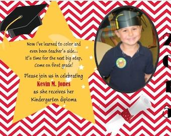 Kindergarten or Pre-K Graduation Announcement Boy or Girl Digital Printable