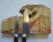 "9"" Box Elder burl w/ natural edge magnetic knife holder, knife rack, with mounting hardware handmade, exotic wood"