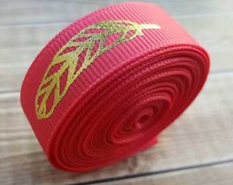 5/8 inch WATERMELON FEATHER grosgrain ribbon