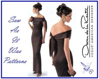 Vogue 2773 Uncut FF Oscar de la Renta American Designer Evening Formal Strapless Drape Tie Dress Sewing Pattern Size 18 20 22 Bust 40 42 44