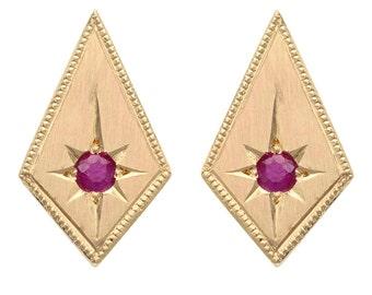14k Diamond shape earrings, Modern kite earrings with Ruby