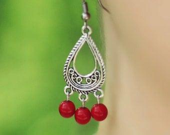 Chandelier Earrings, Chandelier Earrings with Red Glass Beads, Gypsy Jewelry, Dangle Earrings, Silver Red Earrings,Everyday Earring,For Mom