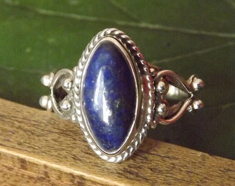 Marquis Lapis Ring Solid 925 Sterling Silver Pure Handmade Size: Variable (5, 6, 7, 8, 9, 10) Exclusive Budget Ring XL Size available