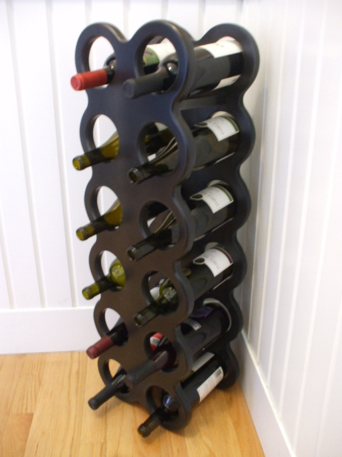 Wine rack wooden wine rack 12 bottle wine rack by woodinyousigns - Wine rack shaped like wine bottle ...