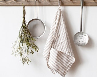 Natural Stripe Stone Washed Linen Tea Towel