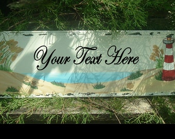 Light House Sign Beach Sign Custom Sign Wood Sign Hand Painted Sign