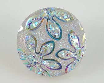 White Daisy Beautiful Glitter Daisies ~ Snap It  SKB2284   Noosa Chunk Popper Snap Interchangeable 18mm 20mm snap