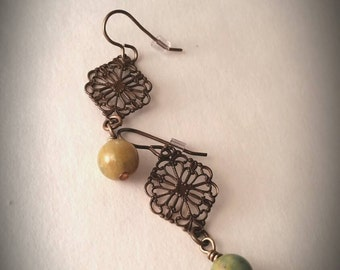 Diamond Filigree Jade Earrings