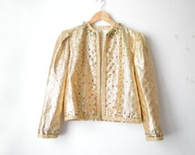 NINA RICCI gold metallic sequin beaded jacket coat vintage 70s 80s // M