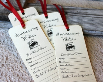 Set of 8 Anniversary Wishing Tree Tags / Bookmarks / Anniversary Party Idea / Anniversary Cards / Wish Cards / Anniversary Party Game