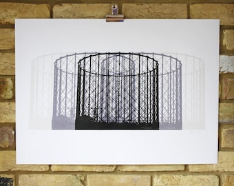 Limited edition screen print, gasometers, industrial, architectural, hand printed art, 50 x 70 print