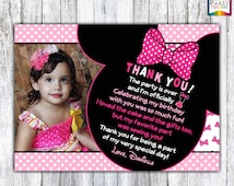 PRINTABLE Minnie Mouse Bowtique Pink Birthday Photo Thank You Card - Personalized Digital 4x6 or 5x7 jpg or pdf