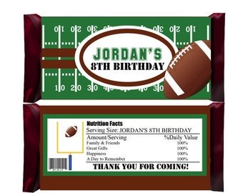 Football Candy Bar Wrappers, Party Favors - Digital File or printed