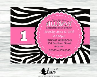 Zebra Print Birthday Invitation - Digital File