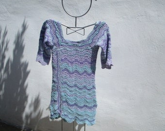 pastel waves crochetted tunic or minidress