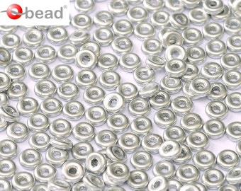 5gr O bead ® 1 x 4 mm, Czech Glass, Aluminium Silver (OB019)