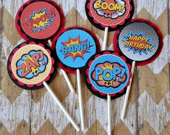 Super Hero Cupcake Toppers:  Boy's Birthday, Baby Shower - set of 12