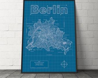Berlin Map / Original Artwork / Berlin Map Art / Wall Art / Wedding Gift / Street Map / Germany Map / Anniversary Gift