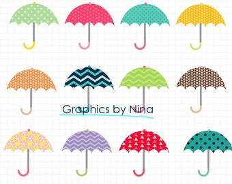 INSTANT DOWLOAD   Umbrella Clipart Scrapbook for Personal and Commercial Use
