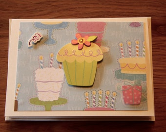 Handmade Cards, Handmade Birthday Cards, Happy Birthday Card, Birthday Card, Cupcake Card