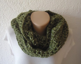 Crochetted navy green scarf , green crochet infinity scarf , navy green crochet snood