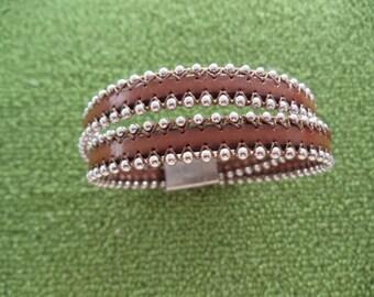 Custom Handmade Ball And Chain European Leather Cuff Bracelet RM215