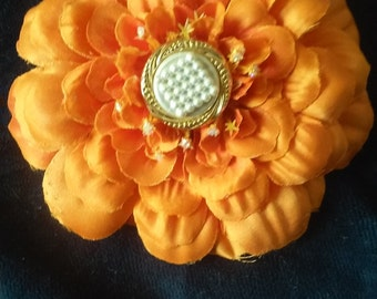 Orange Dahlia Hair Barrette