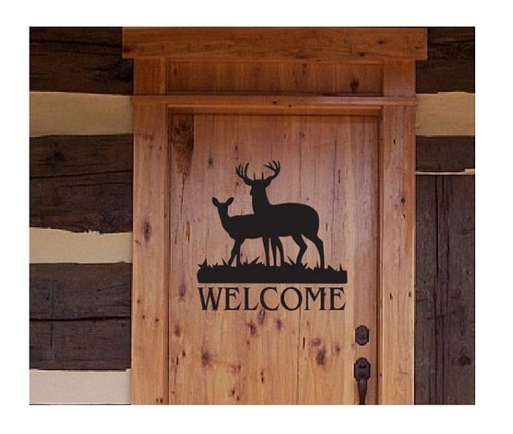 Deer Welcome Sign Vinyl Decal Sticker Multiple Sizes Front