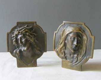 Duo of Vintage French Brass Religious Frames,Jesus and Virgin Mary.