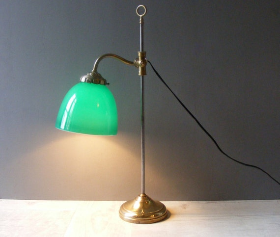 Vintage francese in ottone lampada da tavolo con un paralume - Lampada da tavolo vintage ...
